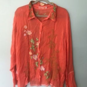 Johnny Was Orange Embroidered Blouse 2X